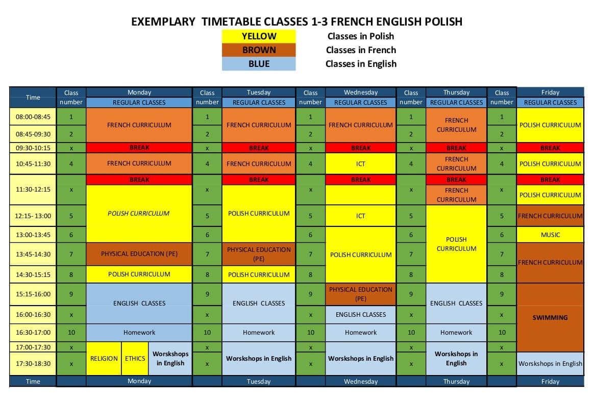 day plan for classes 1-3 ITSW elementary school