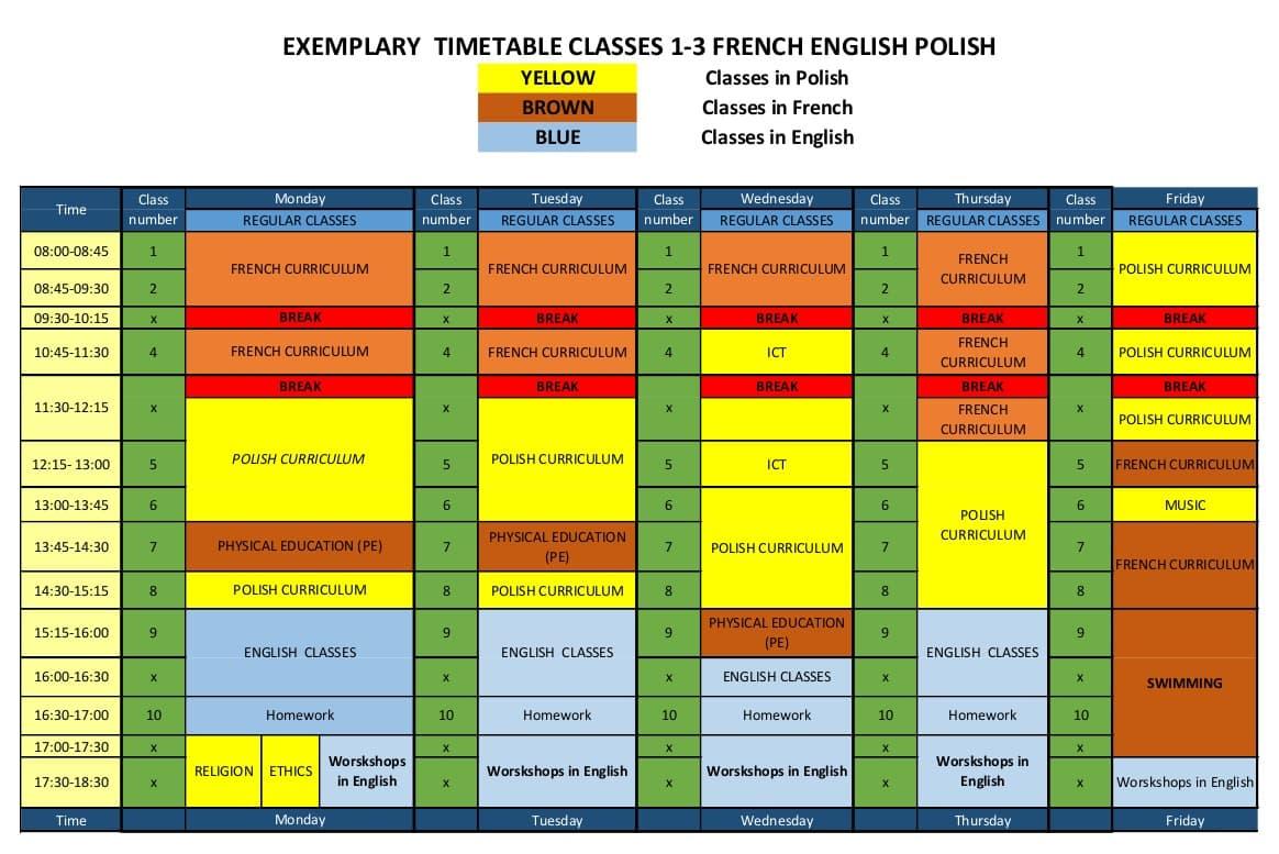 Nietypowy Okaz Plan zajęć trójjęzycznej międzynarodowej szkoły podstawowej ☼ ITSW XM85