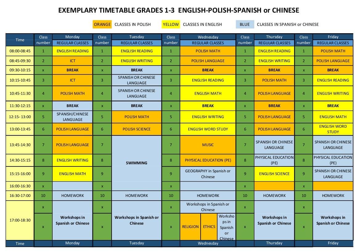 Zupełnie nowe Plan zajęć trójjęzycznej międzynarodowej szkoły podstawowej ☼ ITSW QI72